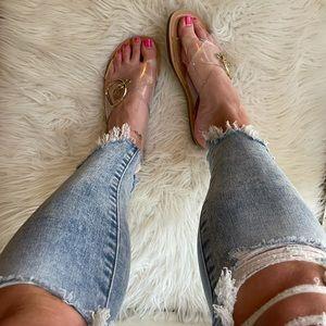 Clear Criss Cross Buckle Sandals